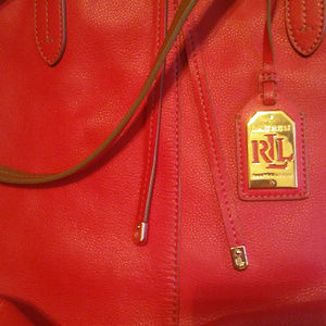 Ralph Lauren large red/tan tote